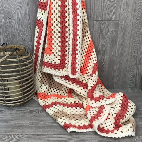 Other - Crochet Orange and tan throw blanket metallic
